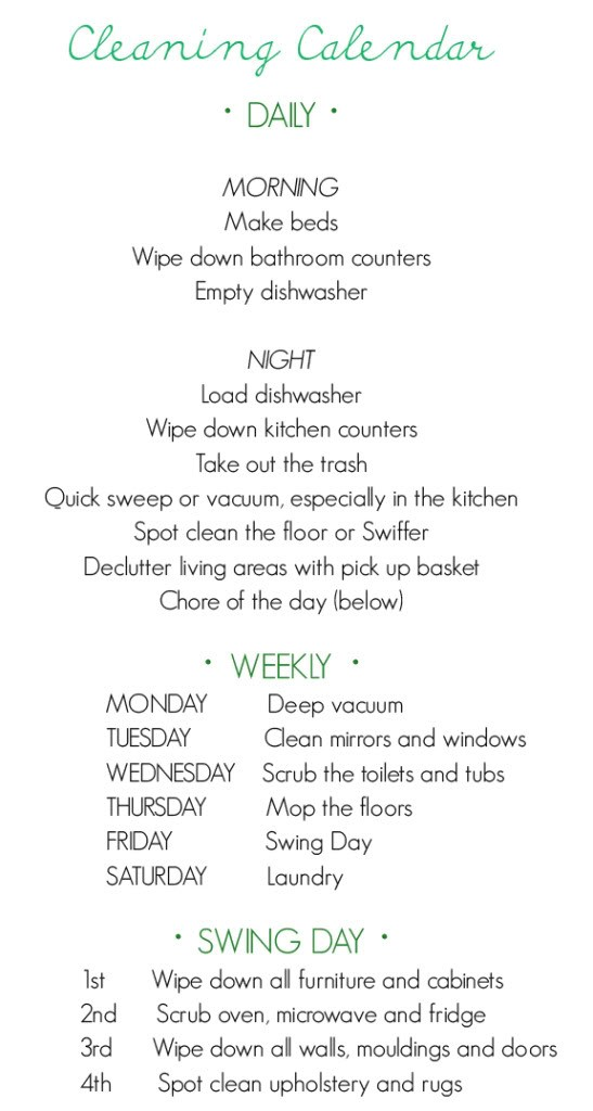 A Cleaning Calendar to Make Sure the House Stays Clean