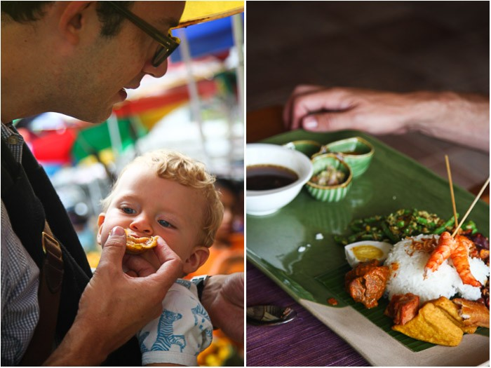 Eating food in Seminyak food market