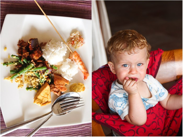 Dining out in Seminyak with a toddler eating